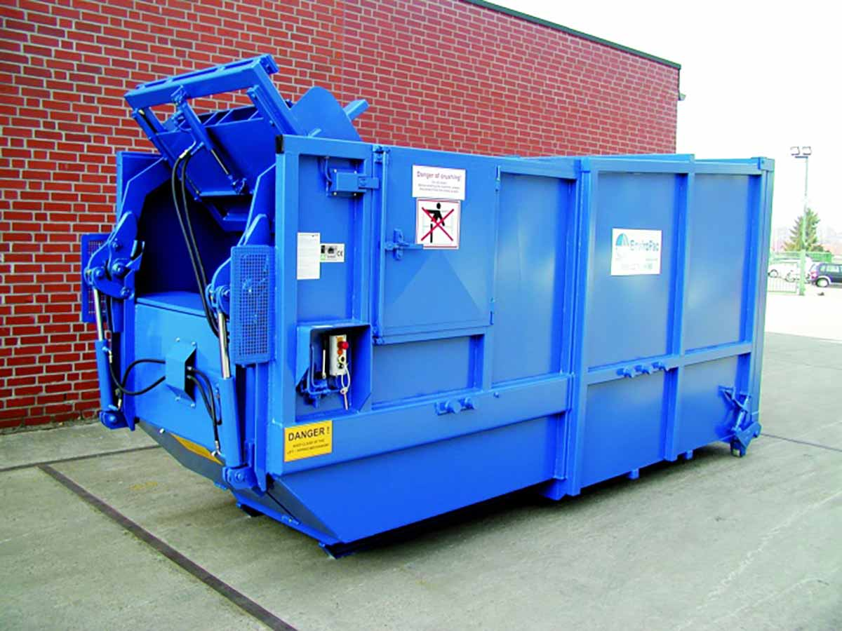 Avermann 20P compactor with integrated bin lift