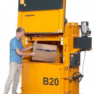 Bramidan B20 waste baler with vertical door supplied by Kenburn