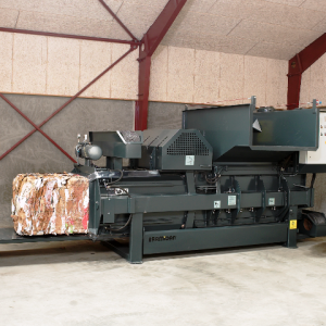 Bramidan HC30 Horizontal Baler showing channel adjustment