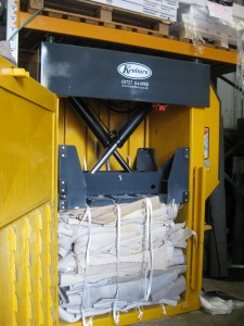 Carpet offcuts baled on Bramidan X30 baler