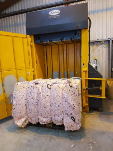 Mattress Foam Baled in a 4-0S(50) Baler